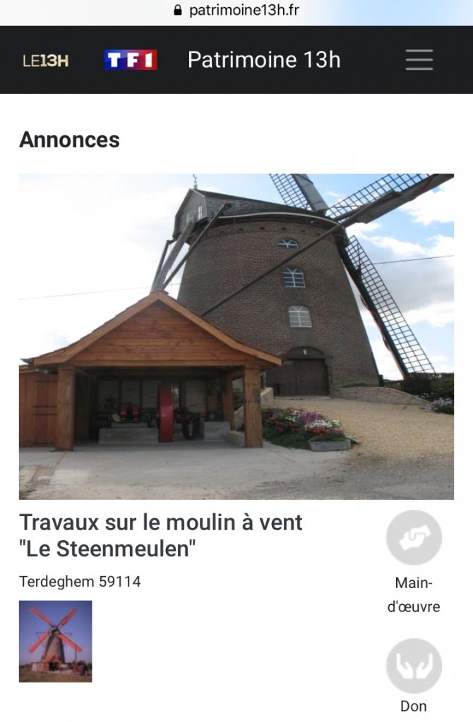 Annonce patrimoine 13h Steenmeulen